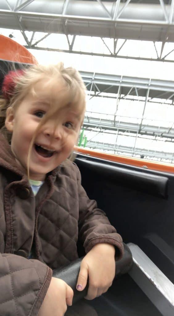 Lyla Leavell on the Orange Streak rollercoaster at Mall of America, Bllomington, Minnesota