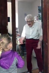 A grand-daughter doorsteps her grand-mother