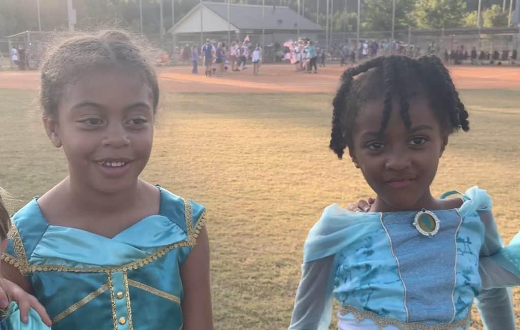 Taya and Liberty Bunger at the softball game