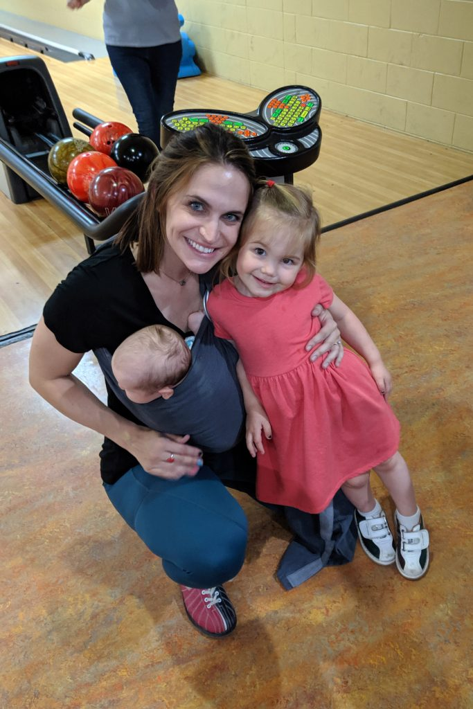 Mom Kristin with her two daughters