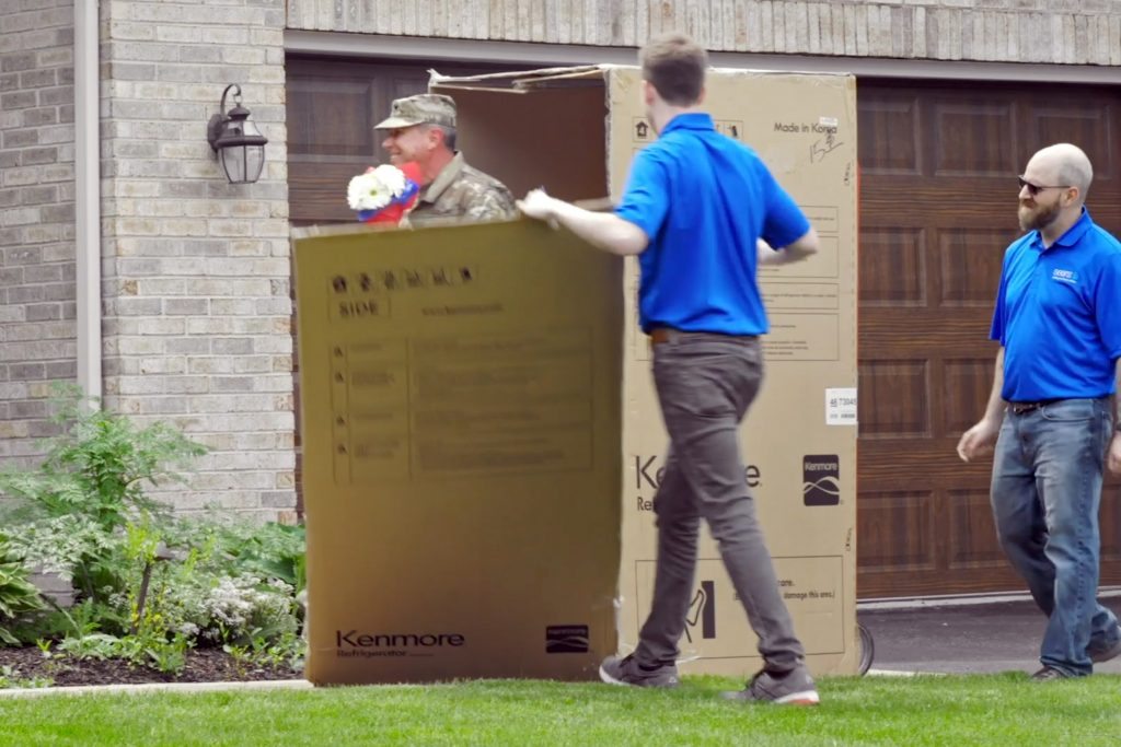 Rob exiting the delivery box