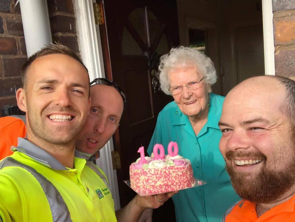 Mercy surprised with birthday cake
