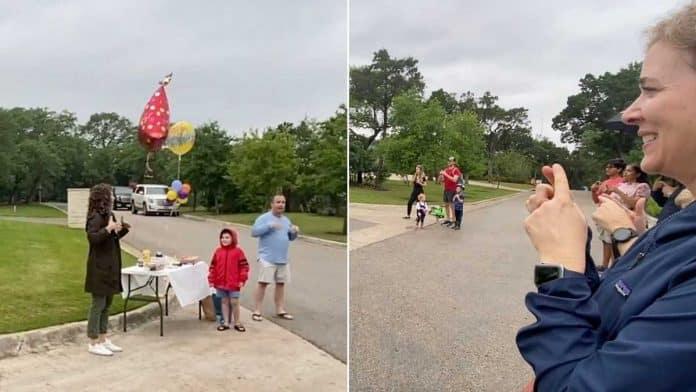 neighbors sign happy birthday to deaf boy