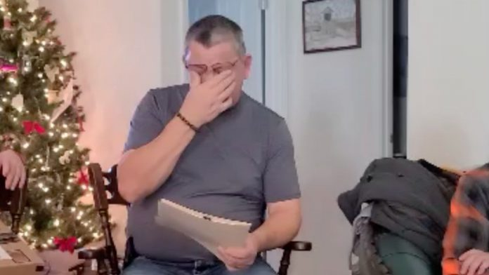 Man cries after being surprised with adult adoption request