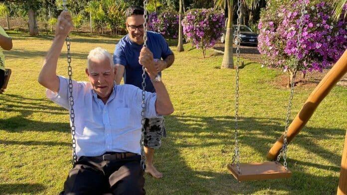 Grandpa on swing